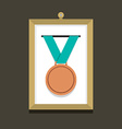 Bronze Medal In A Picture Frame vector image vector image