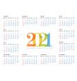 calendar template 2021 vector image vector image