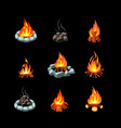 campfire collection pictures glowing flame vector image vector image