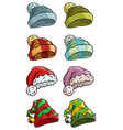 cartoon winter santa hat big icon set vector image