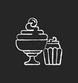desserts chalk white icon on black background vector image vector image