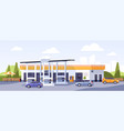 facade modern gas station building with cars vector image
