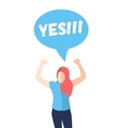 Female in a pose of success saying YES vector image