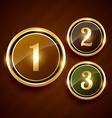 golden number one two three premium design label vector image vector image