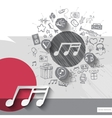Hand drawn music notes icons with icons background vector image vector image