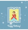 Happy Birthday blue princess card vector image