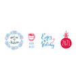 happy new year and christmas vintage handwritten vector image vector image