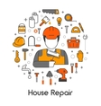 House Repair Renovation Line Art Thin Icons Set vector image vector image