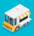 isometric of food truck in flat style vector image vector image