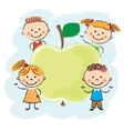 Kids around apple vector image vector image