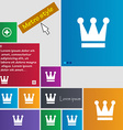 King Crown icon sign Metro style buttons Modern vector image vector image