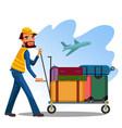 male employee is carrying cart with baggage of vector image
