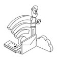 man and technology isometric in black and white vector image vector image