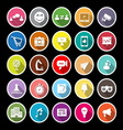 Media marketing flat icons with long shadow vector image vector image