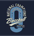 national champions superior baseball league vector image