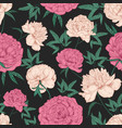 natural seamless pattern with beautiful peony vector image