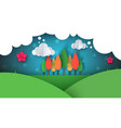 paper cartoon ladnscape tree flower hill cloud vector image vector image