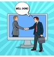 Pop Art Businessmen Shaking Hands vector image vector image