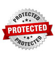 protected round isolated silver badge vector image vector image
