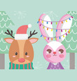reindeer with hat and rabbit lights tree merry vector image vector image