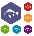 Rose fish Sebastes norvegicus icons set vector image vector image