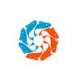 round globe fish logo white background design vector image vector image