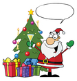 Santa Drinking Champagne And Standing By A Tree vector image vector image