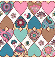 seamless floral patchwork pattern with hearts and vector image vector image