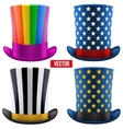 Set of magic hats cylinder vector image vector image