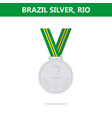 silver medal brazil rio olympic games 2016 vector image vector image