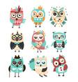 stylized design owls emoji stickers set of cartoon vector image vector image