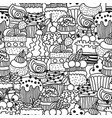 sweet cakes cupcakes black and white seamless vector image