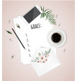 top view goals list with notebook cup of coffee vector image