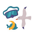 travel or vacation accessories set diving mask vector image