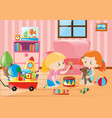 two girls playing with toys in room vector image vector image