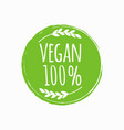 vegan round logo bio eco food design vector image