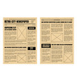 vintage newspaper template sheets set vector image