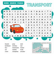 word search puzzle for children transport theme vector image vector image