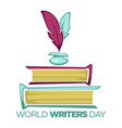 world writers day literature holiday isolated icon vector image vector image