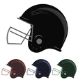 Colorful Football Helmet Icons vector image
