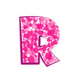 english pink letter r on a white background vector image