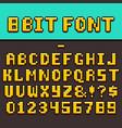 pixel video game fun alphabet and numbers 8-bit vector image