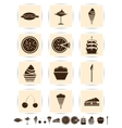 brown cake icons set vector image
