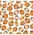 Seamless pattern with brown owls on branches vector image