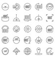 180 degrees outline icons set angle vector image