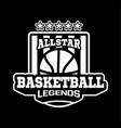 all star basketball legend emblem or badge vector image