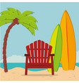 beach landscape with chair and surfboard vector image