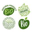 bio and organic eco food fresh label vector image vector image