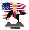 blonde businessman putting ballot in vote box vector image vector image