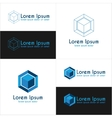 Blue cube logo templates vector image vector image